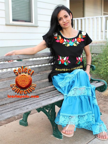 black mexican blouse with blue maxi flared skirt