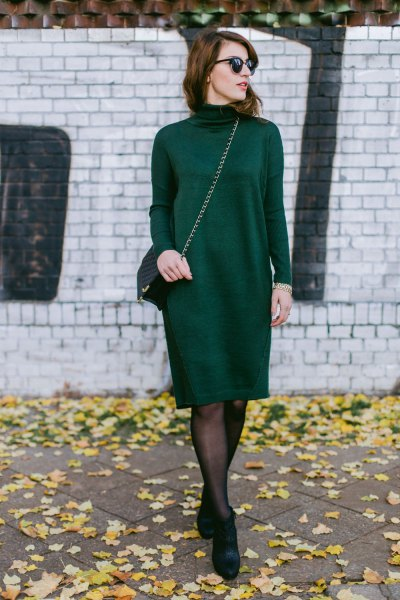 black mock neck knitted knee length dress