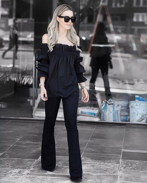 black off the shoulder blouse flared pants