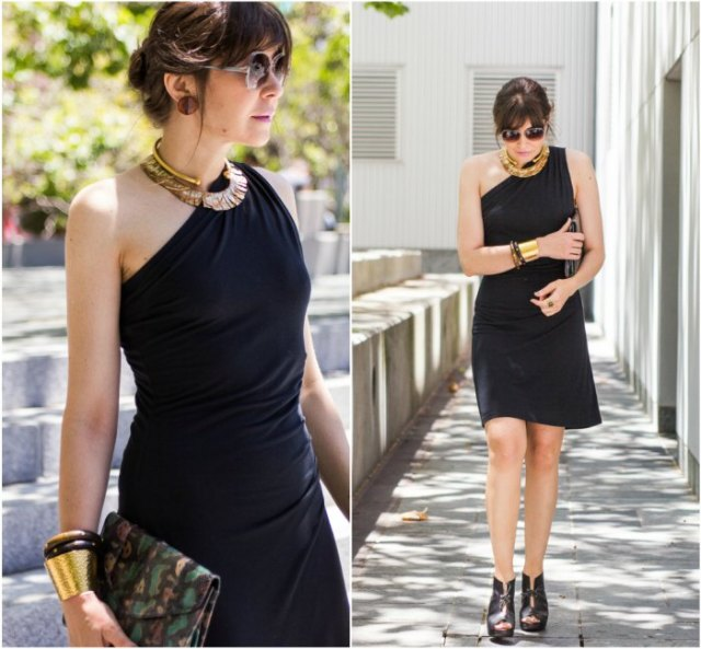 black one shoulder dress with leather ankle boots