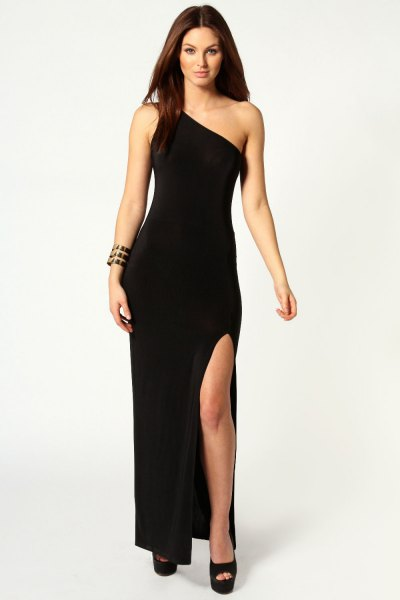 black one shoulder high split dress with open toe heels