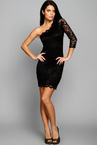 black one shoulder lace sleeve scalloped hem bodycon dress