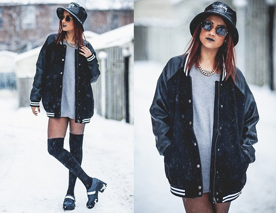 black oversized baseball jacket and grey sweatshirt dress