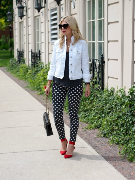 black polka dot pants white denim jacket