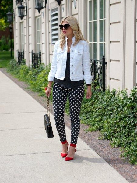 black polka dot pants white denim jacket