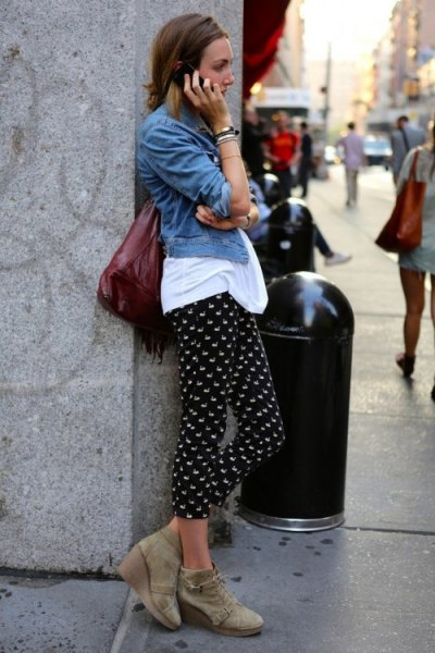 black polka dot pants white tee denim jacket