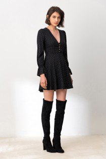 black puff sleeve skater mini dress with thigh high boots