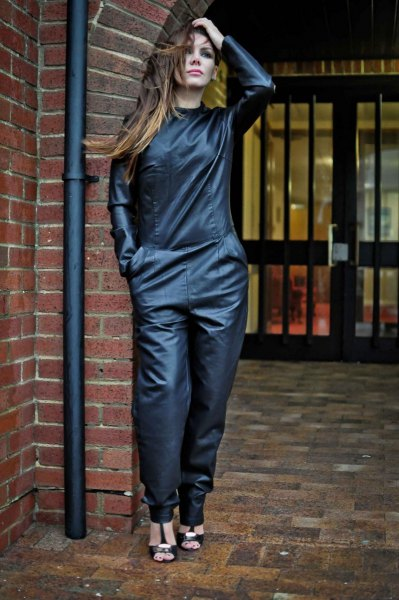 black relaxed fit leather jumpsuit