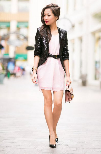 black sequin blazer with white belted chiffon mini dress