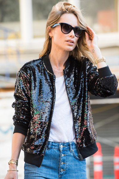 black sequin blazer with white tee and button front jeans