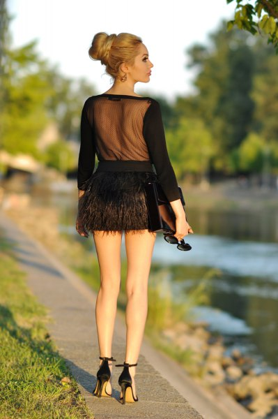 black sheer back blouse mini feather skirt