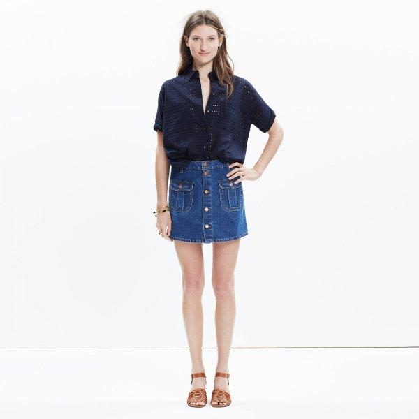black short sleeve shirt with blue button front denim skort
