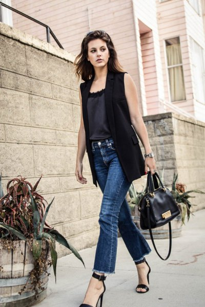 black sleeveless blazer with silk camisole jeans
