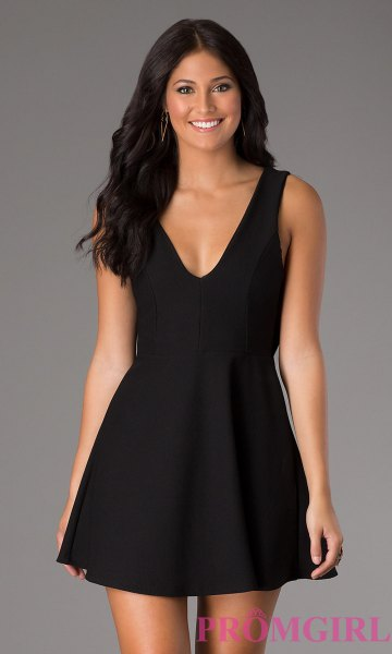 black tank deep v neck skater mini dress