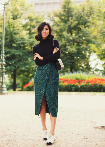 black turtleneck knit sweater with grey tweed tulip skirt