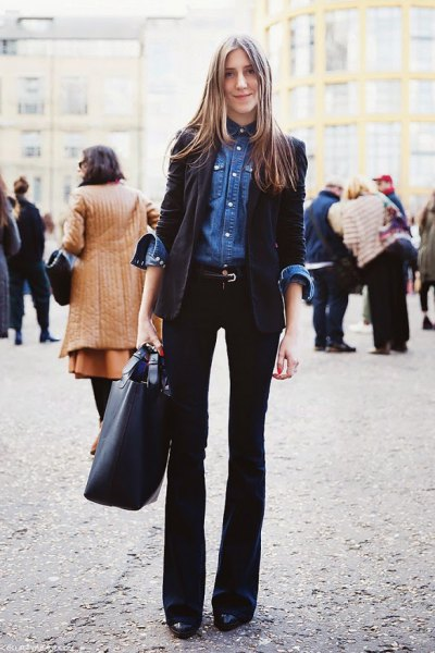 blue chambray shirt black blazer