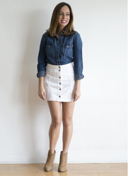 blue chambray shirt with white denim button front skirt