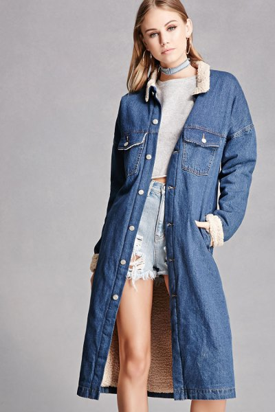 blue denim longline jacket with cropped sweater and shorts