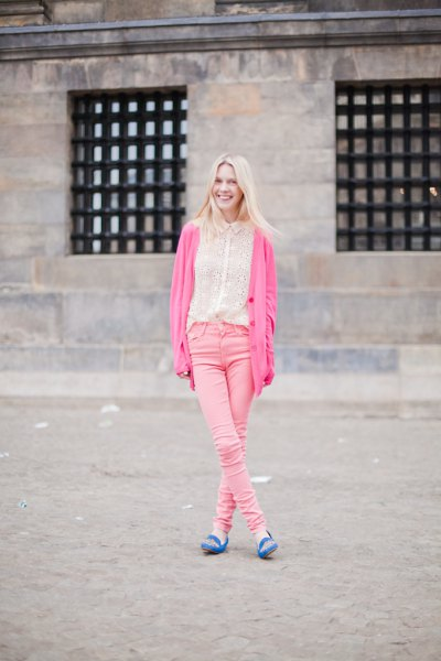 blue embroidered loafers neon pink cardigan blush skinny jeans