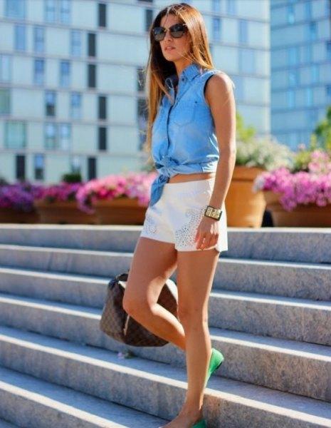 blue knotted chambray sleeveless shirt white denim shorts