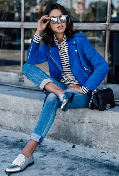 blue leather jacket navy and white striped long sleeve tee