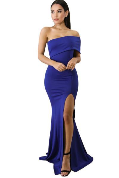 blue off the shoulder maxi high split dress