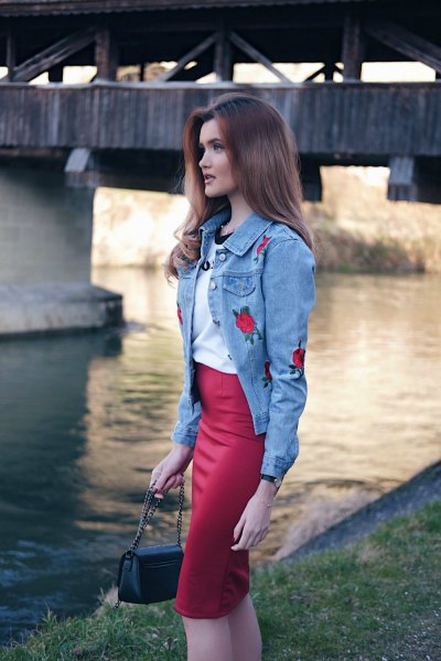 blue rose embroidered denim jacket red midi pencil skirt