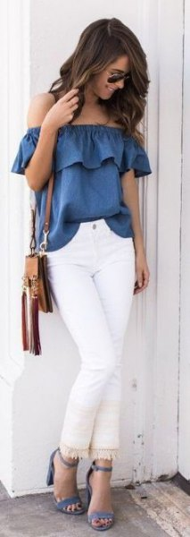 blue ruffle top with white fringe skinny jeans