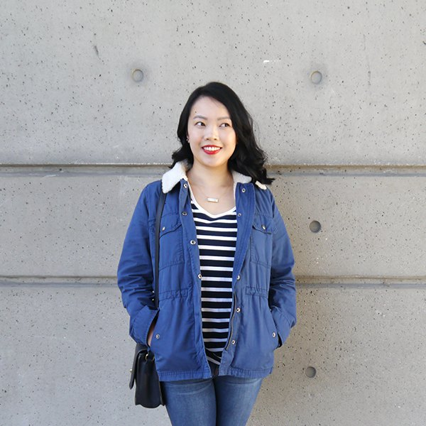 blue sherpa lined jacket with striped v neck tee