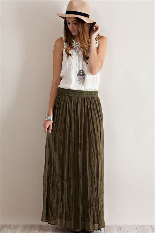 broomstick skirt olive green