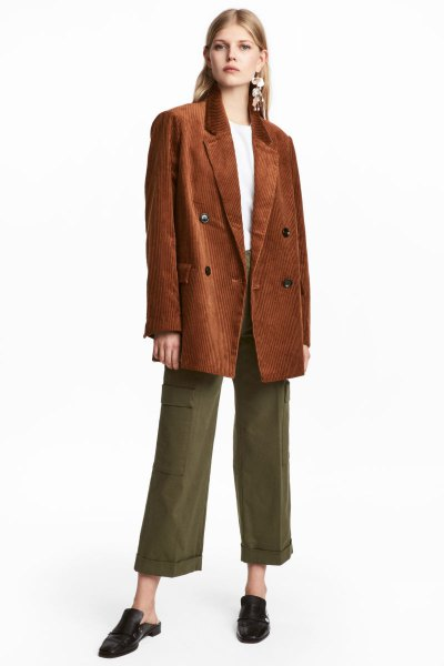 brown corduroy oversized blazer green wide leg cropped twill pants