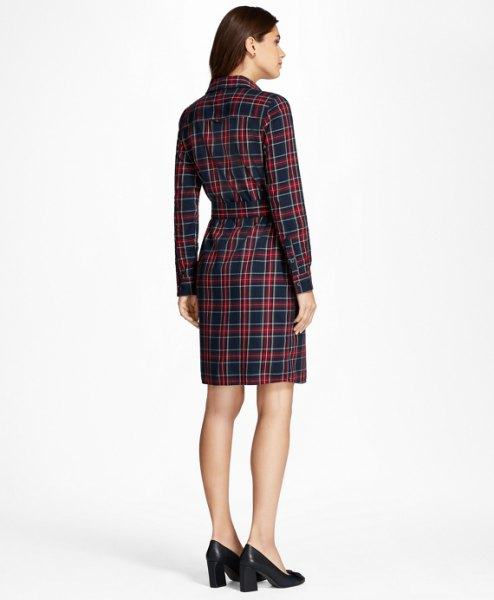burgundy and navy plaid flannel belted shirt dress