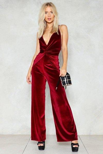burgundy deep v neck wrap velvet jumpsuit