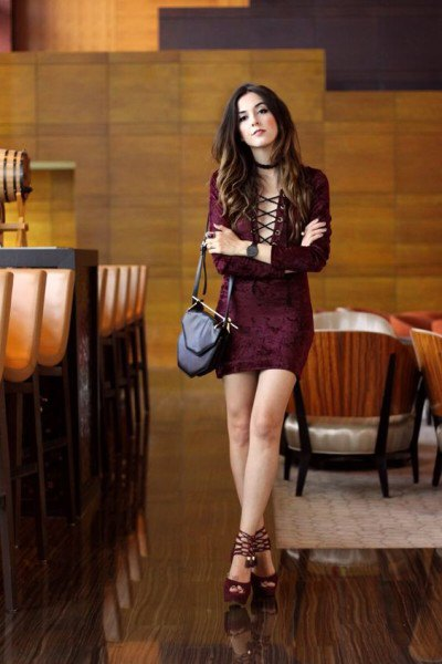 burgundy lace up bodycon mini dress with black open toe velvet heels
