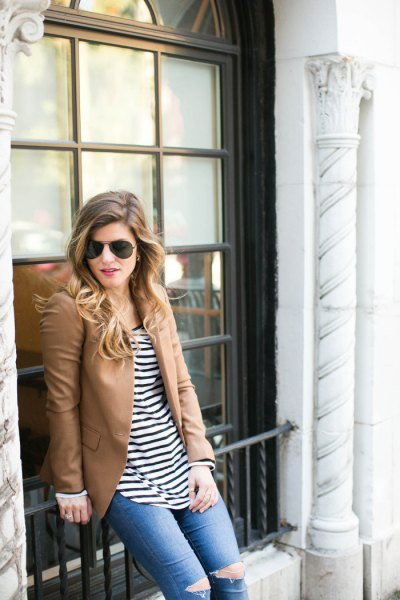 camel leather blazer with black and white striped tee