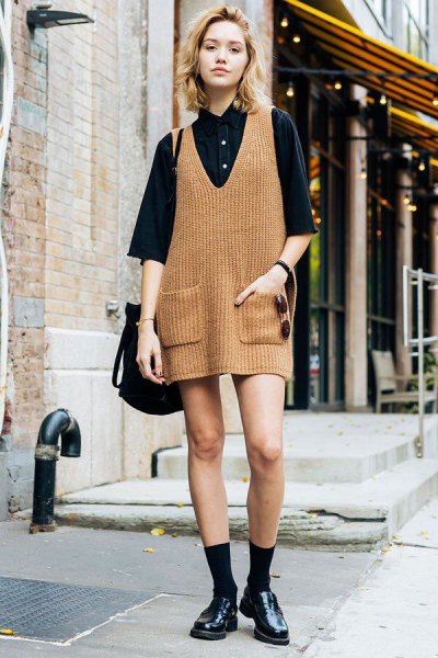 camel ribbed mini knitted dress with black button up shirt
