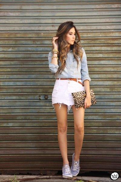 chambray shirt with white mini denim skirt