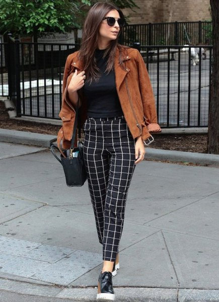 checkered pants with brown suede jacket