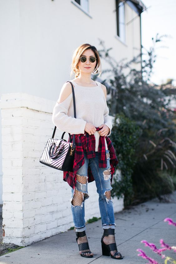 cold shoulder sweater fishtights