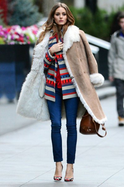 crepe long shearling coat with color block jacket and jeans