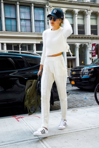 cropped sweater white crochet jogger pants