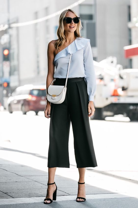 cropped wide leg pants baby blue top