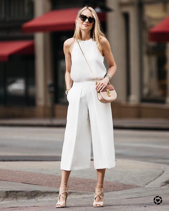 cropped wide leg pants eggshell white