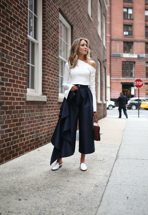 cropped wide leg pants ruffle