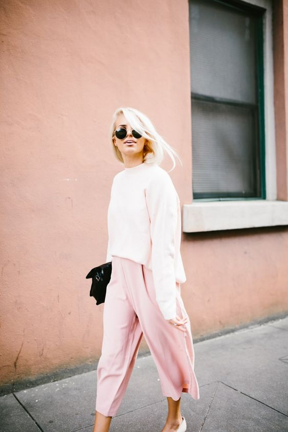 cropped wide leg pants soft pink