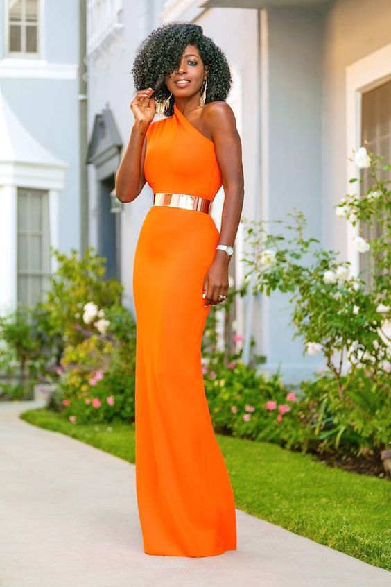one shoulder maxi dress orange
