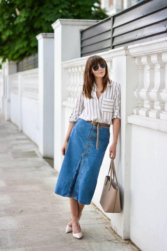 denim midi skirt striped