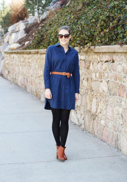 dark blue flannel shirt dress brown leather belt