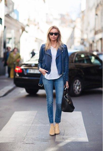 dark blue leather jacket linen white blouse
