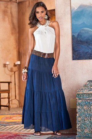 dark blue peasant skirt white halter top